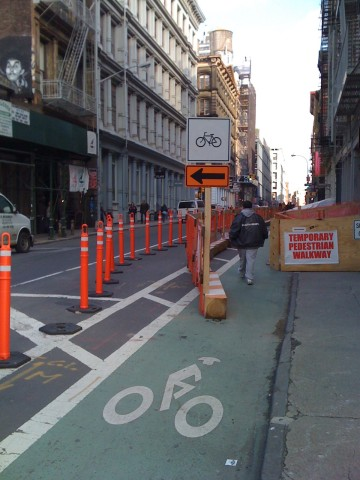 Bike lane detour in New York City