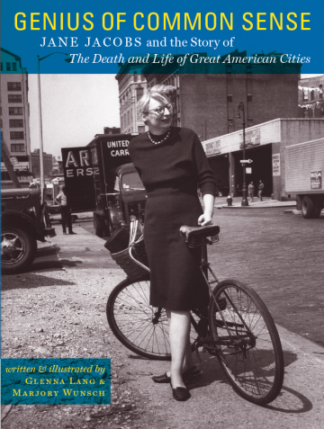 One of the few pictures of Jane Jacobs on a bike, from the cover of a book for young adults.