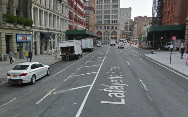 There's plenty of room for a protected bike lane on Lafayette Street.