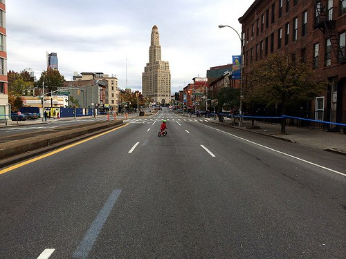 My daughter takes a pre-marathon spin on Fourth Avenue in 2013.
